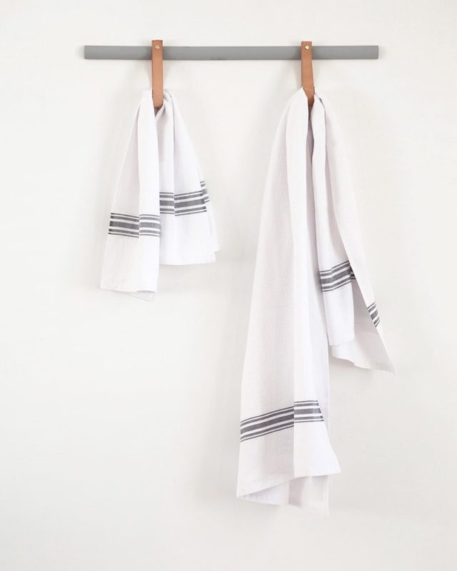 Mungo Willow Weave Towels with a charcoal stripe