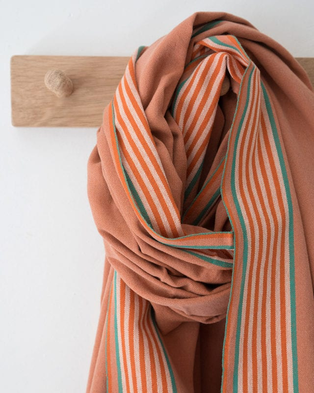 Mungo Ruti Kikoi in Tangerine. Pure cotton scarf, shawl or wrap woven at the Mungo Mill in South Africa
