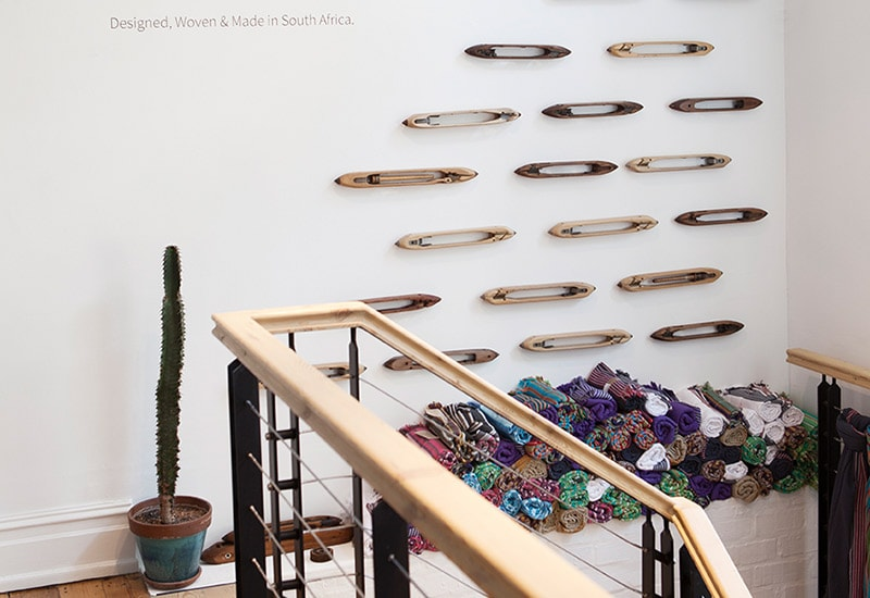The Mungo Cape Town shop at 78 Hout street features a wall of flying shuttles