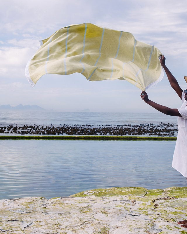 Mungo Soleil Tawulo - a vibrant and versatile flat weave towel woven from pure cotton at the public Mungo Mill