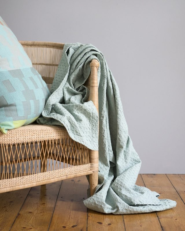 Mungo Lattice Weave Bed Cover in Misty Teal