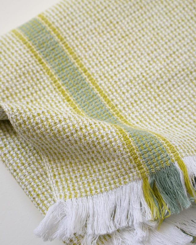 Mungo Summer Towel in Lemon colourway. Pure cotton bath, pool or beach towel designed, woven & made at the Mungo Mill in South Africa