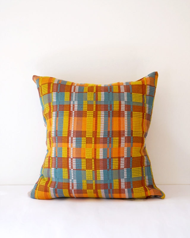 Mungo Vimba Cushion Cover in Rock Salt. Colourful cotton scatter cushions with a striking block print. Woven at the Mungo Mill in Plettenberg Bay