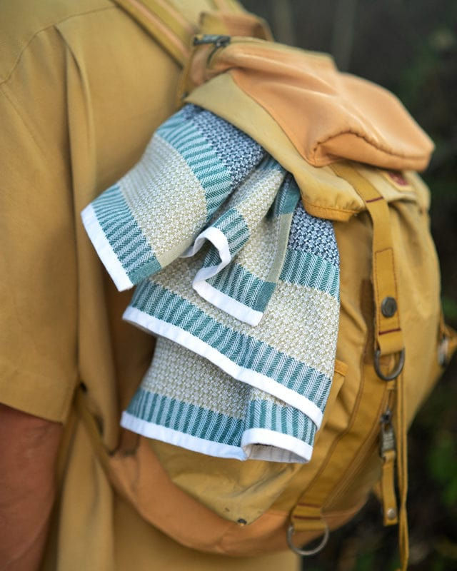 Hiking adventures with the Mungo Bijou Towel. Woven in South Africa